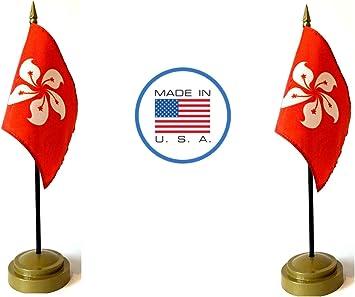 "Madagascar 4/""x6/"" Flag Desk Set Table Stick Gold Base"