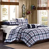 Full Queen Twin Comforter Bed Set Teen Bedding Modern Contemporary Blue Navy Plaid Bedspread Update Bedroom Decor (FULL/QUEEN)