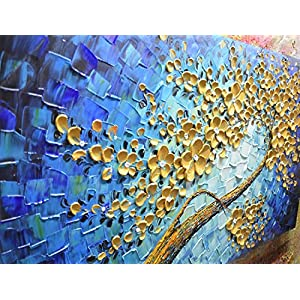 Metuu Modern Canvas Paintings, Texture Palette Knife Golden Flowers Paintings Home Decor Wall Art Colorful 3D Flowers Wall Decoration Abstract Painting Wood Inside Framed Ready to Hang 20x40inch