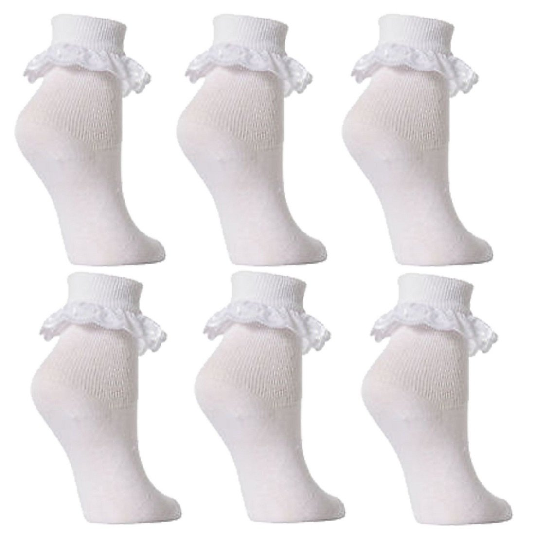 New season Baby//Girls frilly lace top socks white 6 pairs