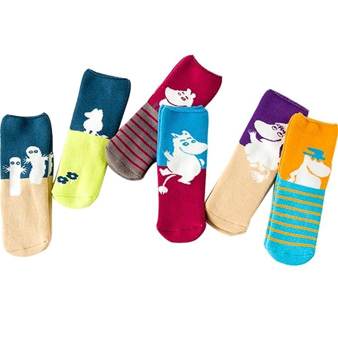 953229dd4eb3 Amazon.com: OULU 6-pair Kids Warm Cotton Socks Girls Boys Cute Colorful  Crew Socking Gift Set 3 to 12 Years: Clothing