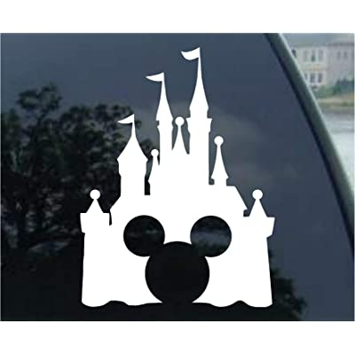 Disney Style Castle with Mickey Inspired Vinyl Car Window Decal Sticker (White): Automotive