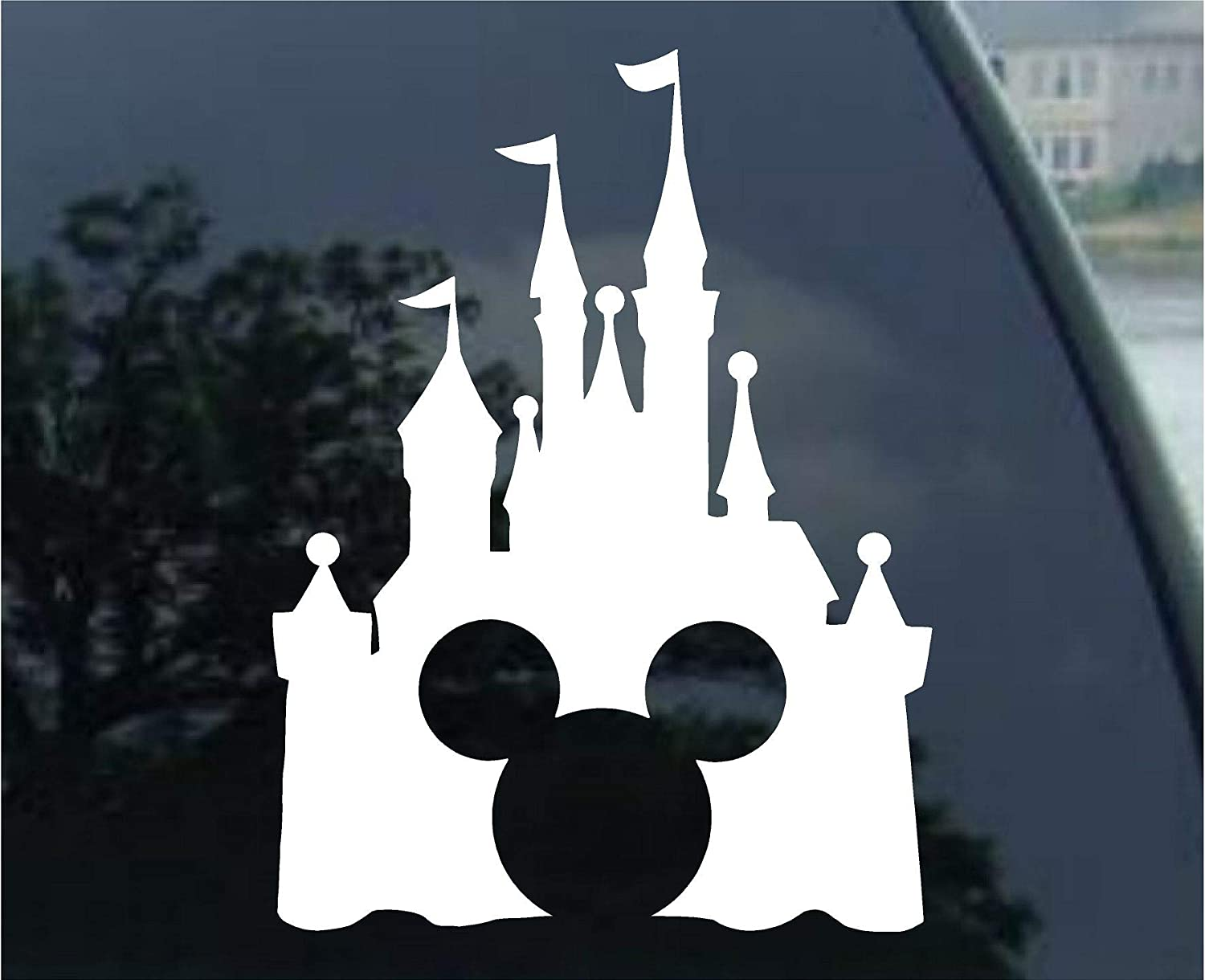 Disney Style Castle with Mickey Inspired Vinyl Car Window Decal Sticker (White) Stick' emAll Vinyl Decals