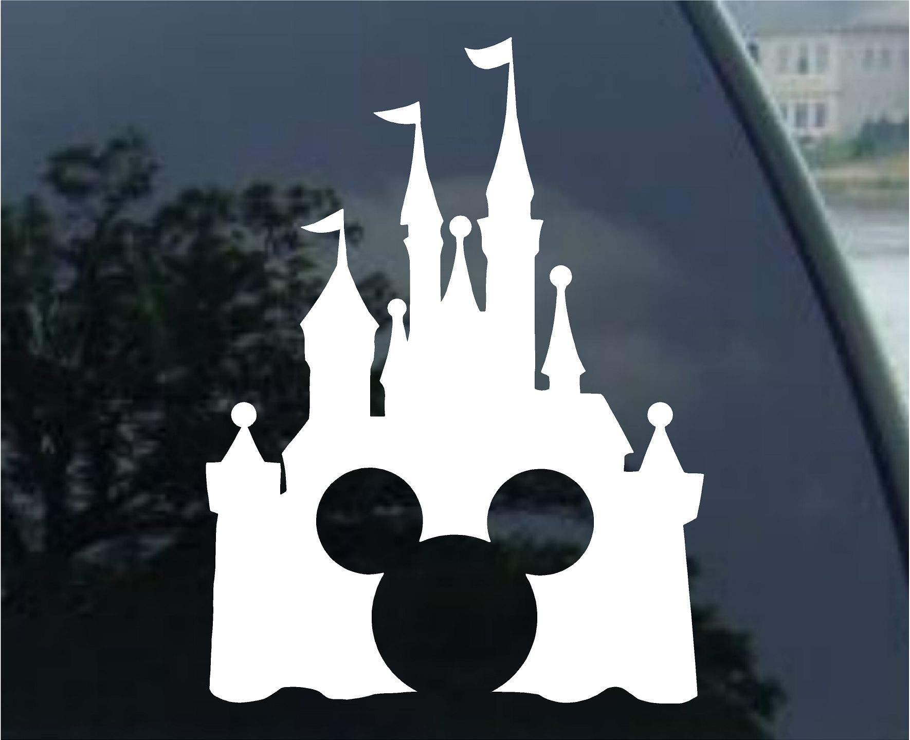 Disney Style Castle with Mickey Inspired Vinyl Car Window Decal Sticker (White) by Stick'emAll Vinyl Decals (Image #1)