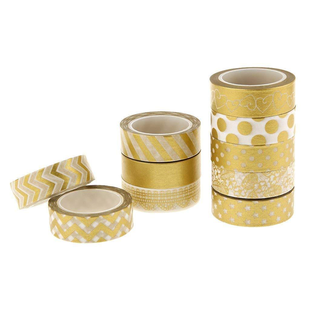 NaiCasy 10 Rouleaux Papier Washi Ruban d'or de la série Washi Sticky Paper Masking Tapes - 15mm Large Bande Masking Bricolage pour Les Adultes des Enfants et des Outils de Traitement Mur