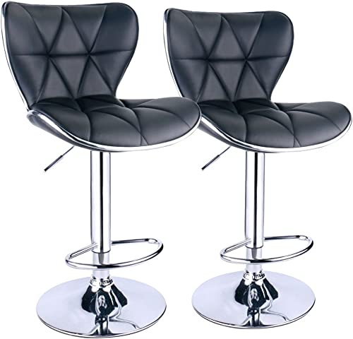 Leopard Shell Back Adjustable Swivel Bar Stools, PU Leather Padded with Back, Set of 2 Black
