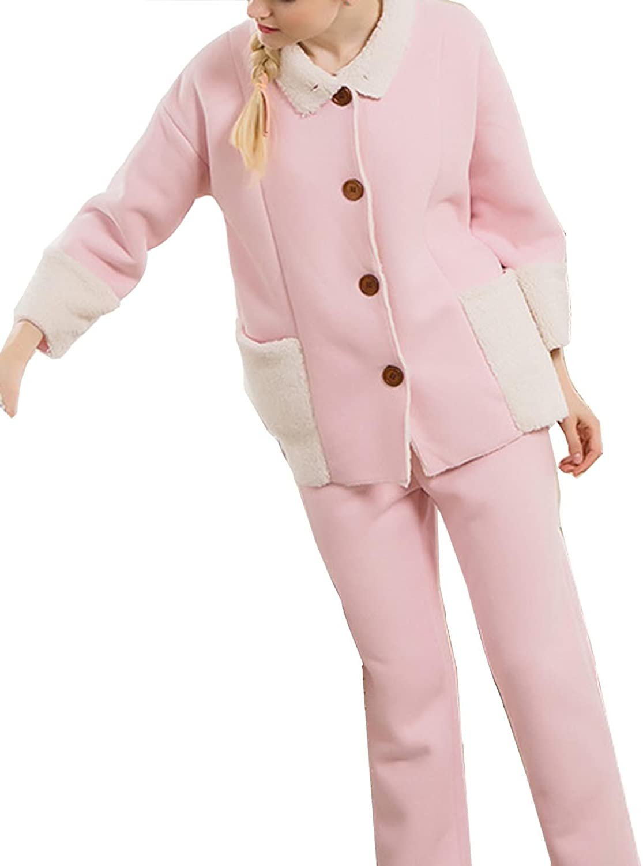 VECJUNIA Womens Pyjamas Nightgown Sleepwears Women Cotton Button Pocket Pyjamas Pink XXL