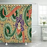 Breezat Shower Curtain the Beautiful of Malaysian and Indonesian Batik Pattern Industry Is Mass Production in Malaysia Indonesia Waterproof Polyester Fabric 72 x 72 Inches Set with Hooks