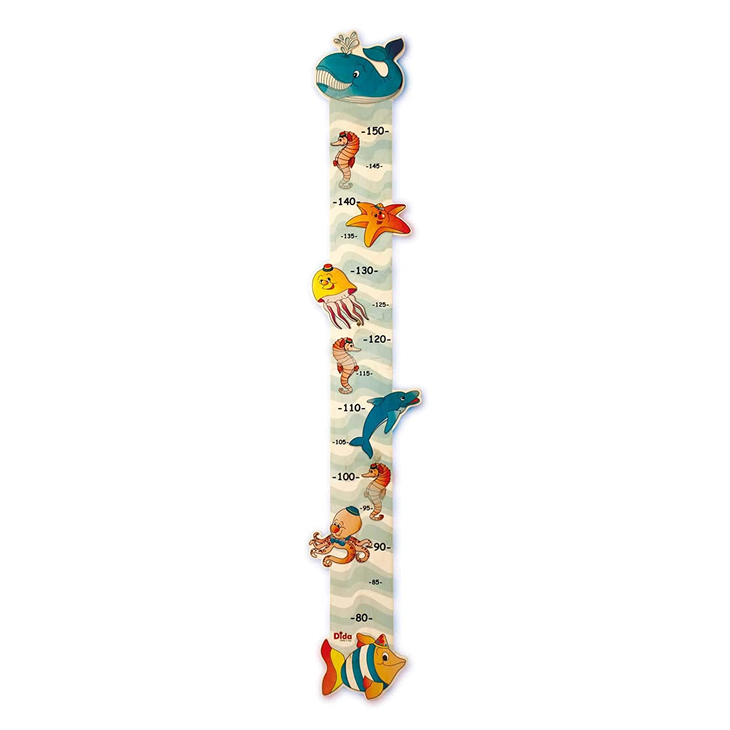 Dida - Wooden Growth Height Chart for Kids - Sea Animals