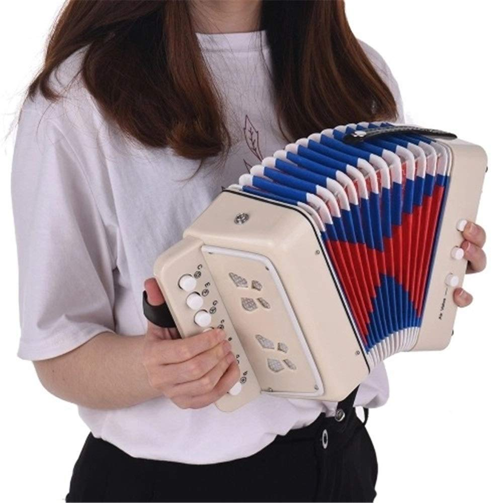 Accordion Kids Beginners Students Music Accordion with Straps 7 Keys 2 Bass Mini Size Accordion Instruments Small Educational Band Musical Toys Children's Gift White by Ybriefbag-Musical Instruments (Image #2)