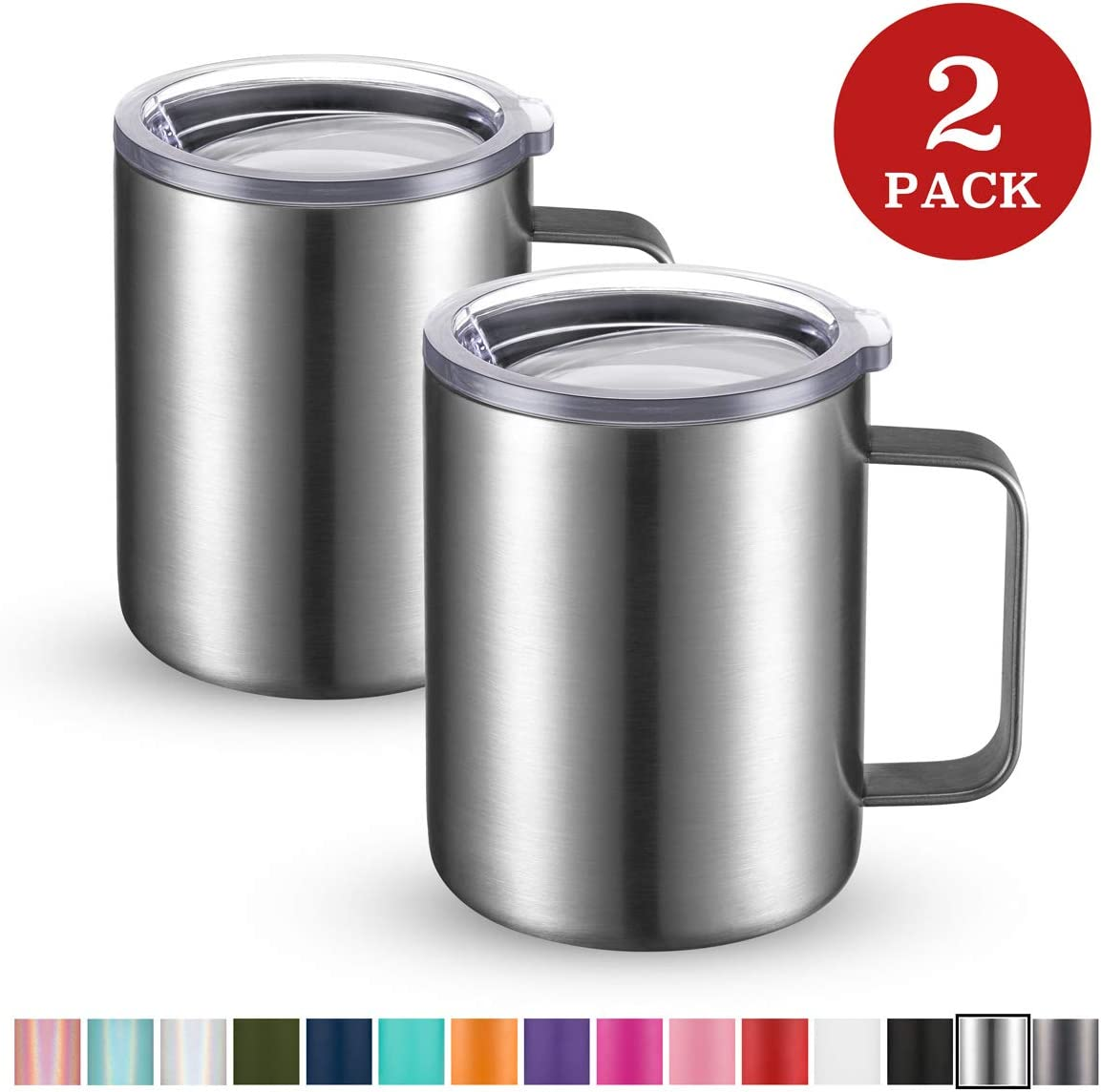 Civago Stainless Steel Coffee Mug Cup with Handle, 12 oz Double Wall Vacuum Insulated Tumbler with Lid Travel Friendly (Stainless, 2 Pack)
