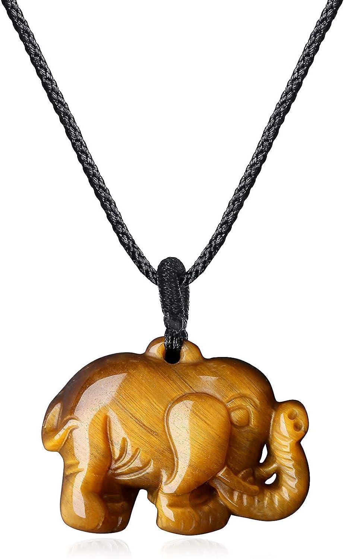 COAI Colgante Elefante en Ojo de Tigre Marrón