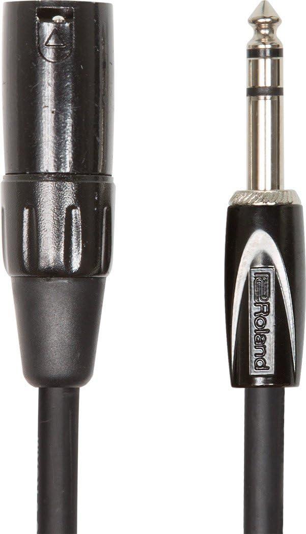 Cable de interconexión balanceado de la serie Black de Roland — De TRS macho de 1/4 de pulgada a XLR macho, 3m de longitud - RCC-10-TRXM