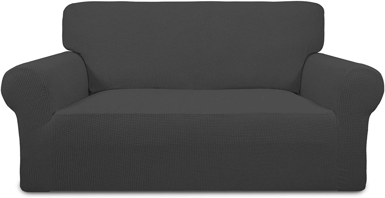 Easy-Going Stretch Oversized Loveseat Slipcover 1-Piece Sofa Cover Furniture Protector Couch Soft with Elastic Bottom for Kids Polyester Spandex Jacquard Fabric Small Checks Dark Gray
