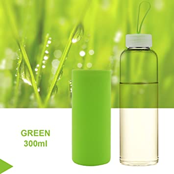 b6a88018a0ce47 HonTop Gleen Glass Water Bottle 300ml 10oz Non Slip Silicone Sleeve  Protection