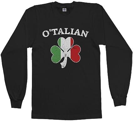 Ancora Italiano Manicotto Lungo Irlandese Trifoglio Maglietta T6qWh