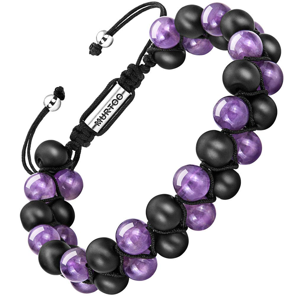 murtoo Essential Oil Bracelet Adjustable Beads Bracelet Lava Rock Stone Bracelet Perfume Diffuser Bracelet, 7''-9'' Gift (purple bead 8mm)