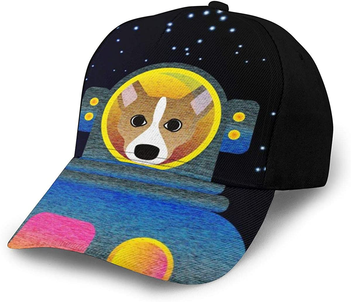 Cartoon Space Corgi Dog Classic Baseball Cap Men Women Dad Hat Twill Adjustable Size Black