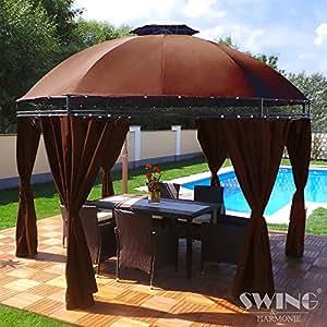 LED–Carpa 350cm Lavo–con paredes laterales y LED Iluminación + Módulo Solar Redonda de jardín Cenador redondo, marrón