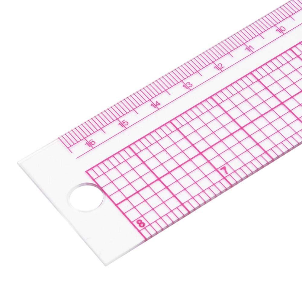 Forme de l Plastique Rose Leathercraft mesurant la r/ègle fran/çaise de Couture de r/ègle carr/ée pour Le Bricolage en Cuir Outils de Couture /à la Main HEEPDD R/ègle carr/ée