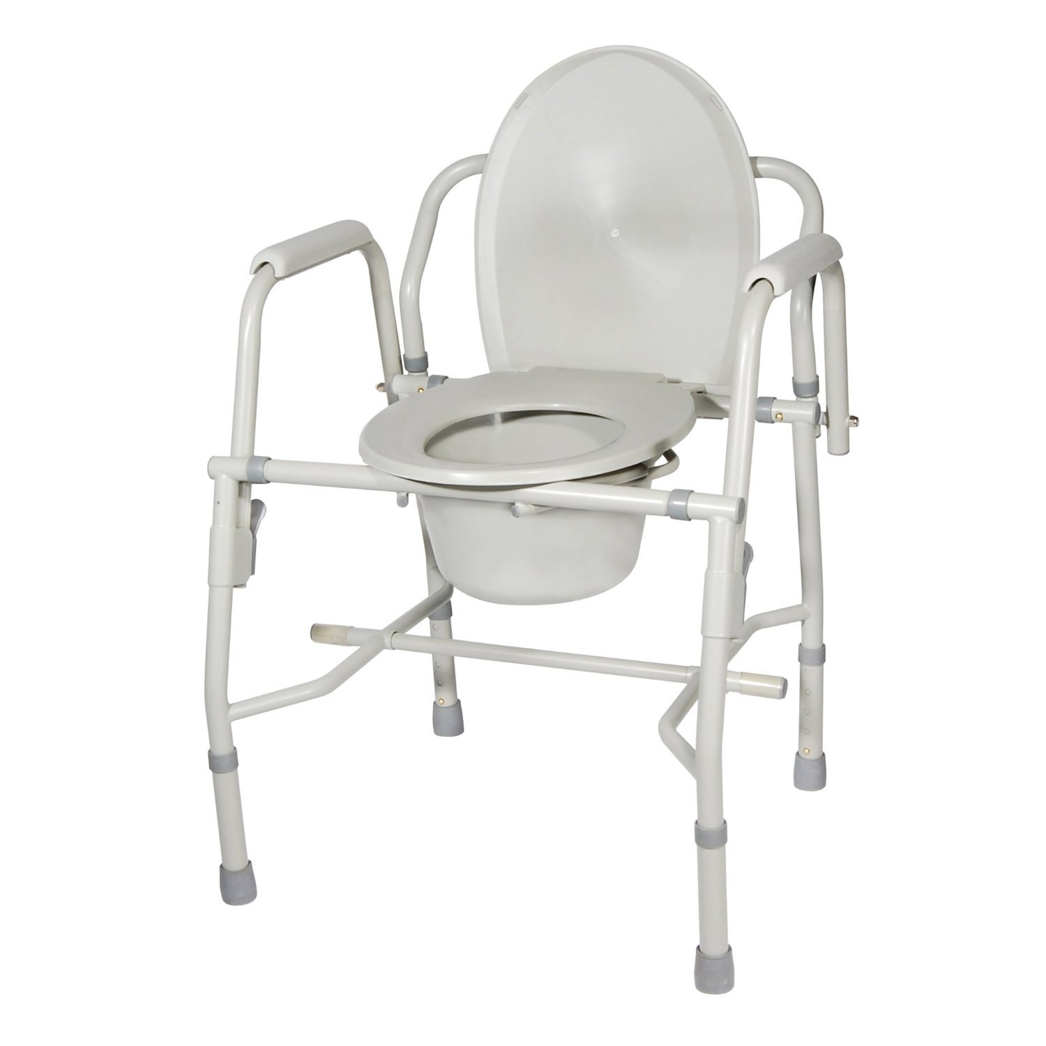 Drive Medical Deluxe Steel Drop-Arm Commode, Tool Free Knock Down Frame