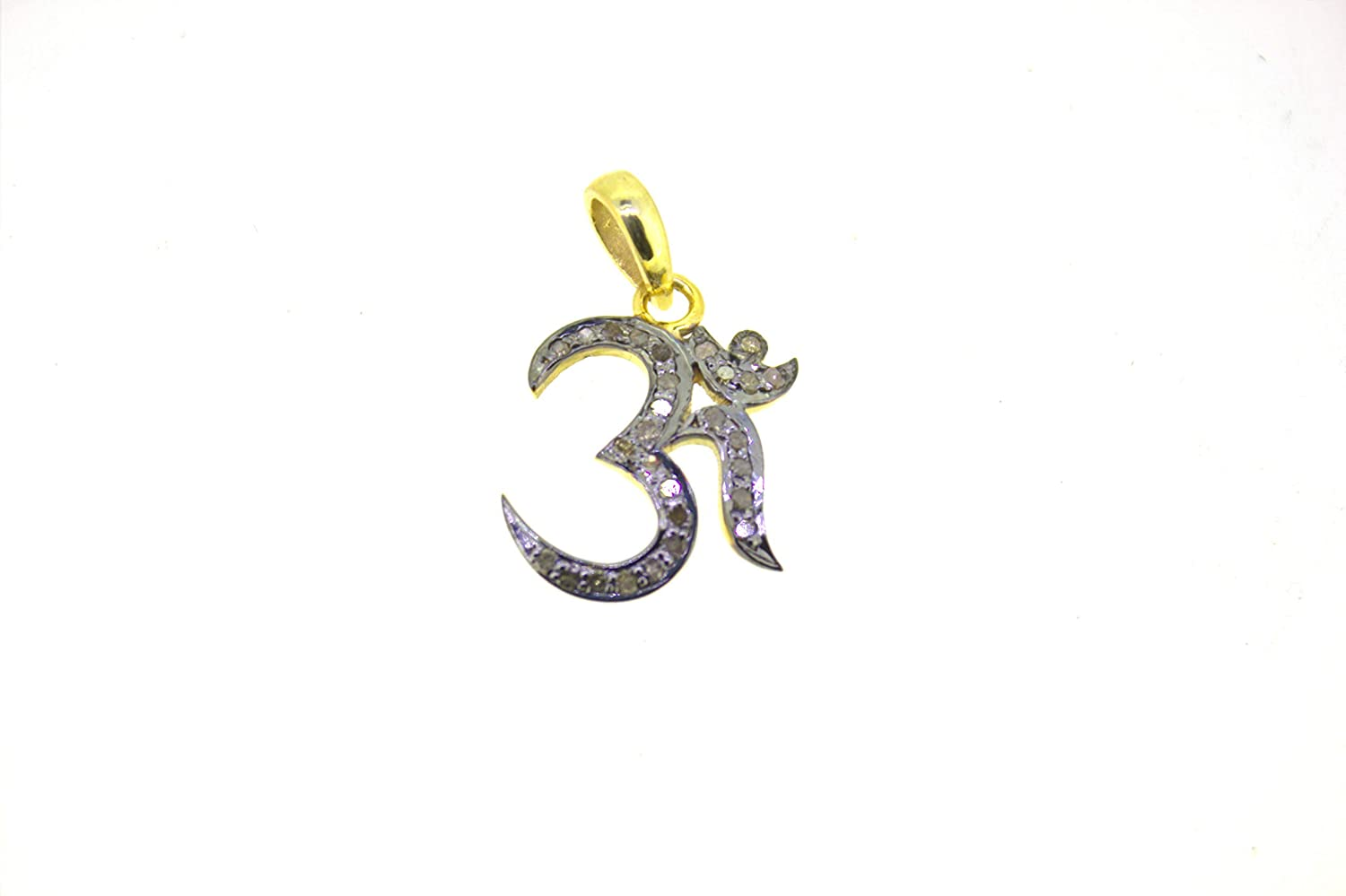 1 Pc Pave Diamond Om Symbol Over 925 Sterling Silver Charm Pendant Ohm Pendant 19mmx15mm PDC1202
