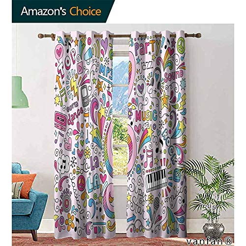 Big datastore 70s Party Decorations curtainsMusic Clef Groovy Psychedelic Doodles Hand Drawn Hippie Symbols Signs Bedroom Multicolor Printed W72 x L84 Multicolor -