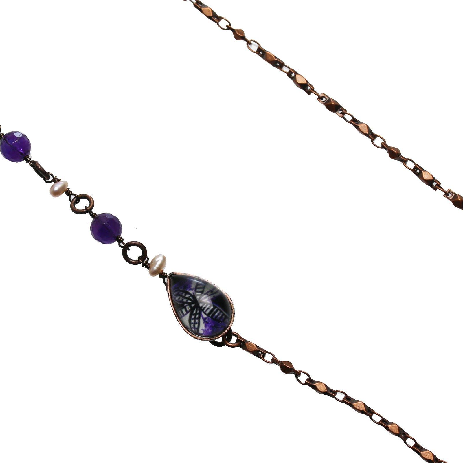 Tamarusan Eyeglass Chain Purple Lily Amethyst Freshwater Pearl Antique Style Eyeglasses Holder by TAMARUSAN