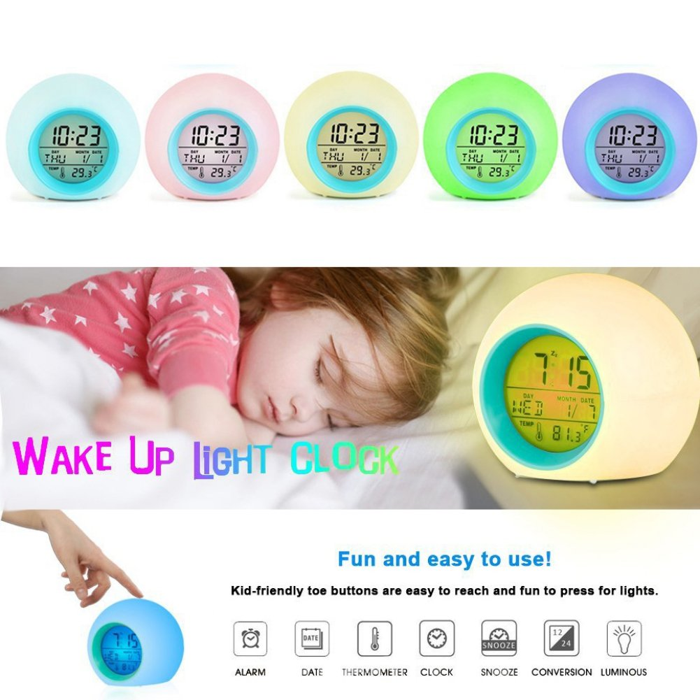 Yayoshow Kid Alarm Clock Night Light Digtal Alarm Clock 7 Changing Colors Wake up Light Alarm Clock with Intelligent Tempreture Sensing Date Snooze function