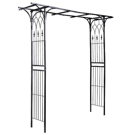 Amazoncom Giantex Garden Arch Metal Rose Steel Garden Arbor