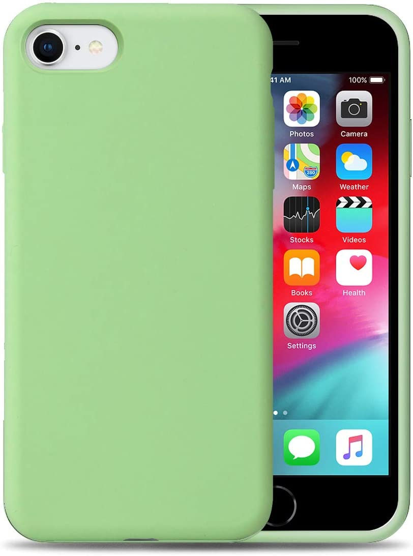 Liquid Silicone Phone Case for Apple iPhone SE2 / 7/8 /Full Body Protection/Shockproof/Gel Rubber/Cover Case Drop Protection Green
