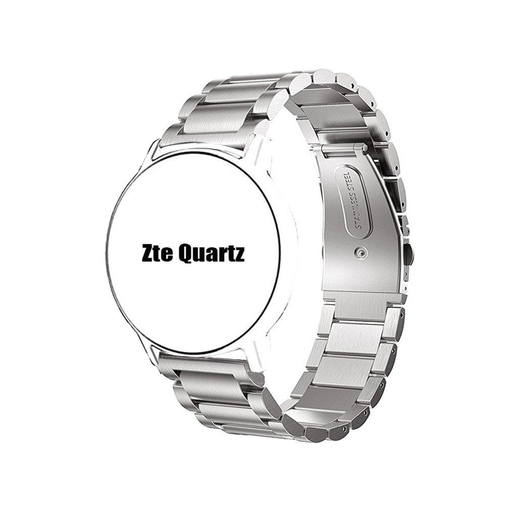 ZTE Quartz Smartwatch Band, Lamshaw Stainless Steel Metal Replacemet Straps for ZTE Quartz Smartwatch (Silver)