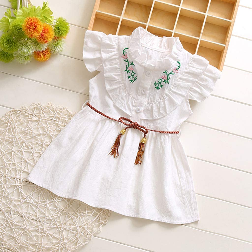 Judi Toddler Baby Kids Girls Ruffles Ruched Floral Skirt Bow Dress Clothes