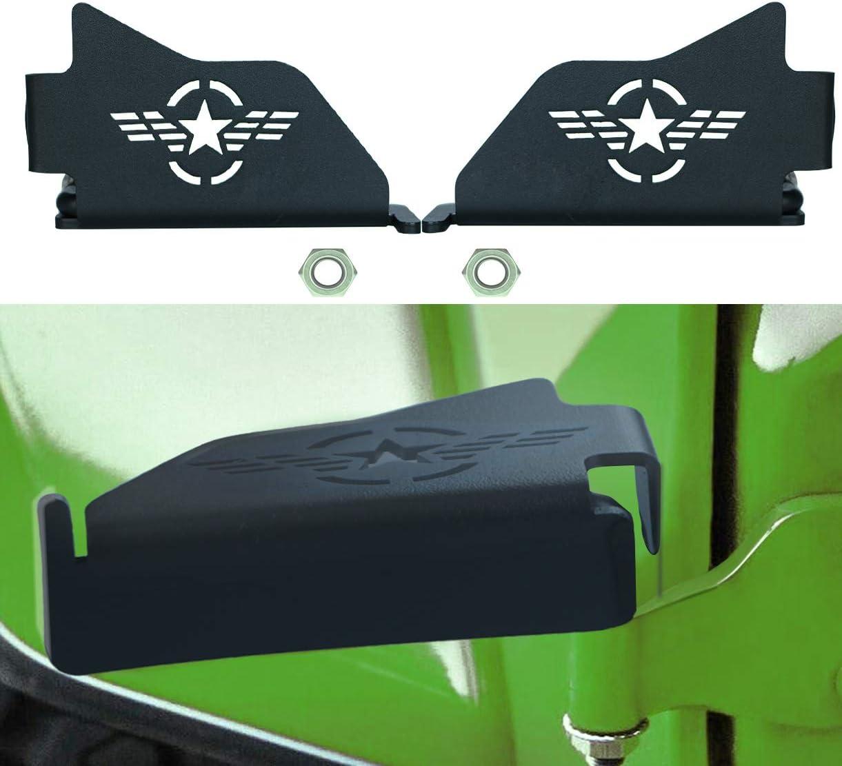 Black Steel Front Foot Pegs Foot Rest Padal Rest Kick For Jeep Wrangler JK JKU JL JLU 2007-2020 2 PCS 1