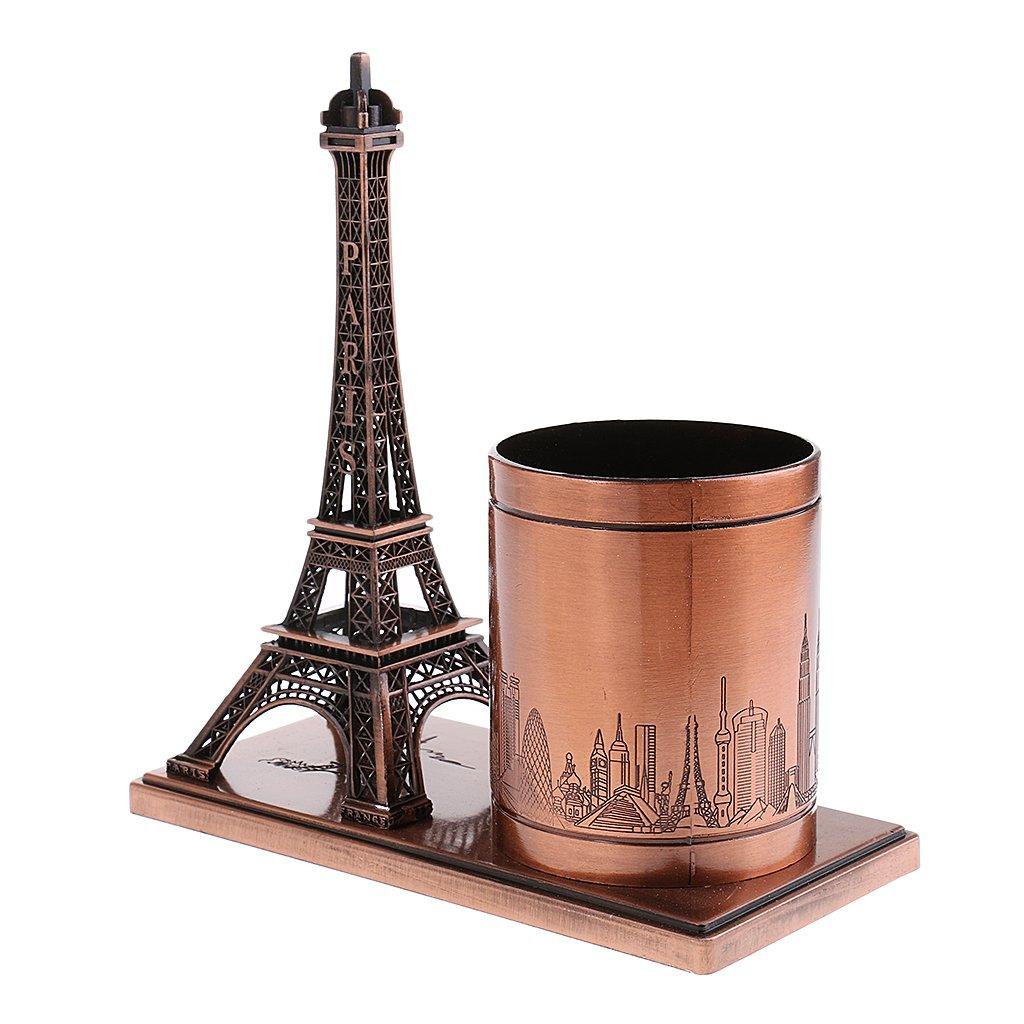 sharprepublic Organisateur De Bureau Porte-crayons Stylo Titulaire R/étro Figurines Tour Eiffel Mod/èle En M/étal Artisanat Home Decor Cuivre Rouge