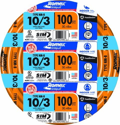 Southwire 63948426 100' 10/3 with ground Romex brand SIMpull residential indoor electrical wire type NM-B, Orange by Southwire