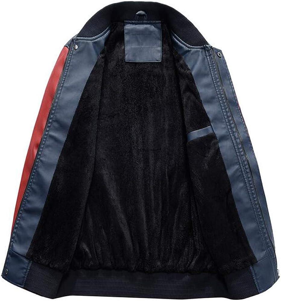 Loeay Mens Faux Cuir Veste Varsity College Baseball Casual Veste Hiver Broderie Vestes PU Manteaux Slim Fit Vintage Outwear Manche Rouge