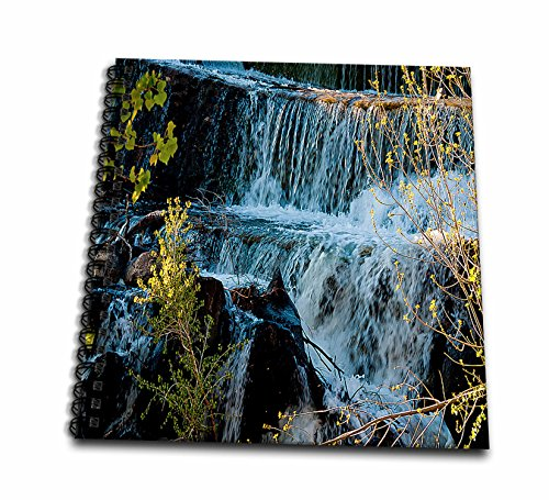 3dRose db_49677_2 Fast Moving Waterfall Flowing Over Rocks at Baker Dam in Southern, Utah with Hues of Blue and Green-Memory Book, 12 by 12-Inch (Moving Waterfall)
