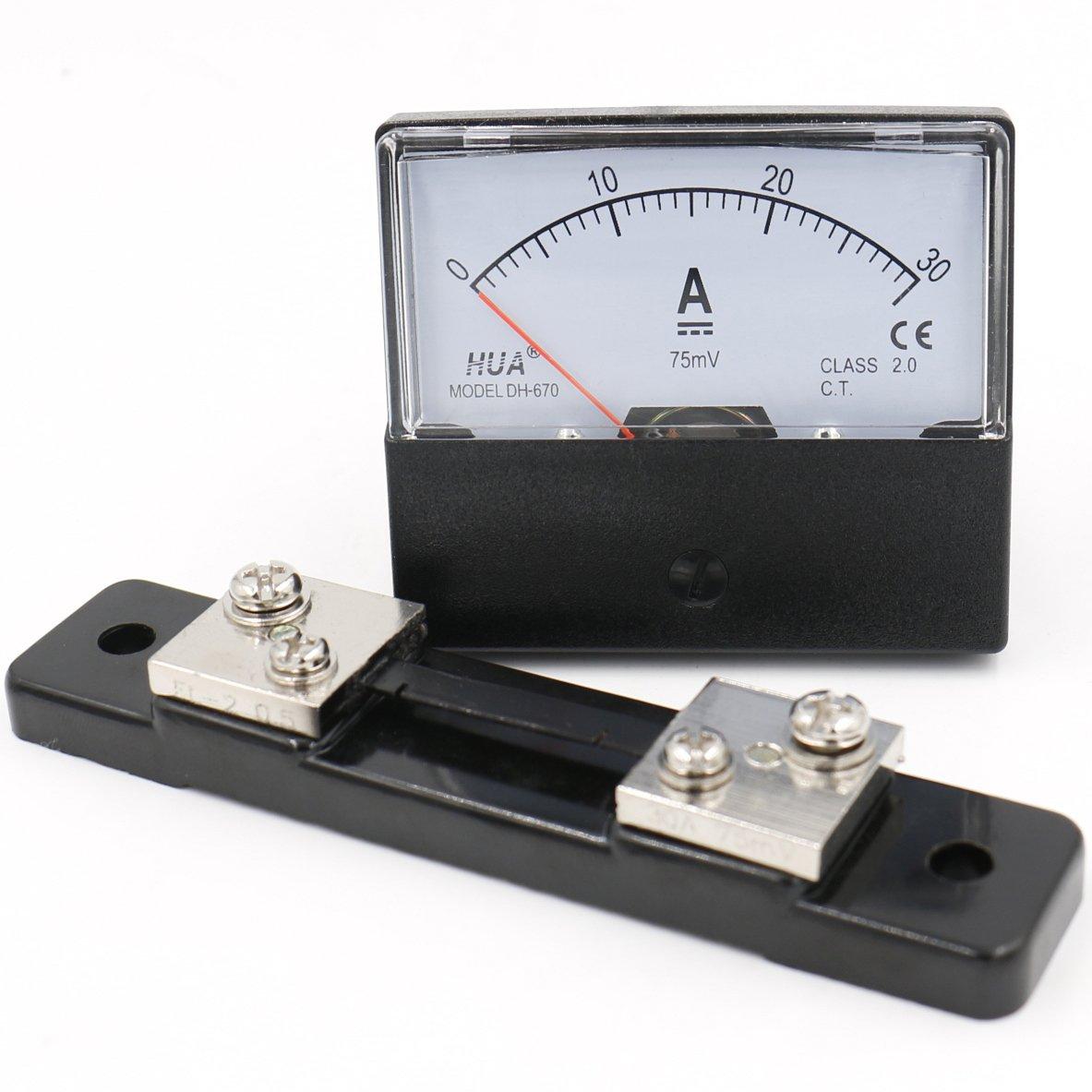 heschen rectá ngulo de panel montado en Contador de corriente amperí metro Tester DH de 670 DC 0 –  30 A clase 2, 0 con Shunt 0con Shunt HUA