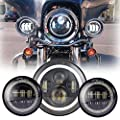 """Black 7"""" Inch Harley Daymaker LED Headlight with DRL+ 2x 4.5"""" 30w Fog Light Passing Lamps for Harley Davidson Motorcycle"""