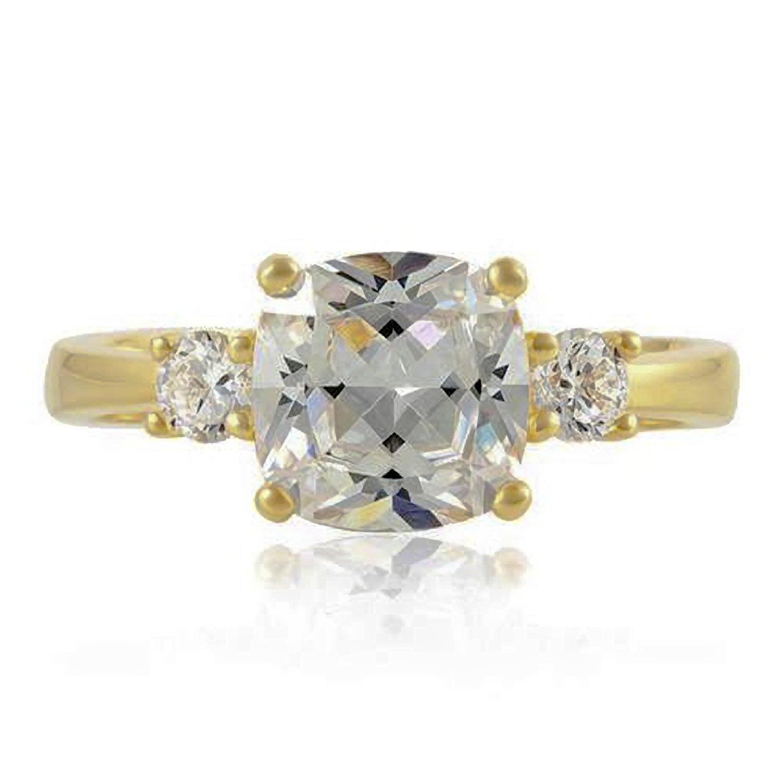 eb436f8b4e3 Bague de fiançailles en diamant d oxyde de zirconium cubique (CZ) -  Réplique de la bague de Meghan Markle - Bague en argent sterling 925 plaqué  or  ...