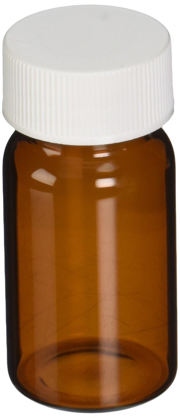 JG Finneran 9A-121 Amber Borosilicate Glass Standard VOA Vial with White Polypropylene Solid Top Closure and PTFE Lined, 24-400mm Cap Size, 20mL Capacity (Pack of 72)