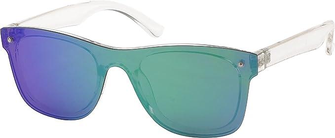 All Cheap Sunglasses - Los Angeles - Gafas de Sol Wayfarer lente de espejo montura Transparente y lentes Turquesa unisex