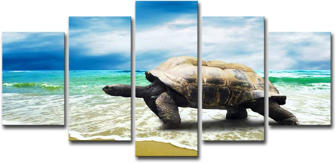 Mytinaart Paintings Posters Canvas Paintings Home Wall Decor Art HD Prints Framework 5 Pieces Turtle Crawling On The Beach Poster Modular Sea Waves Pictures