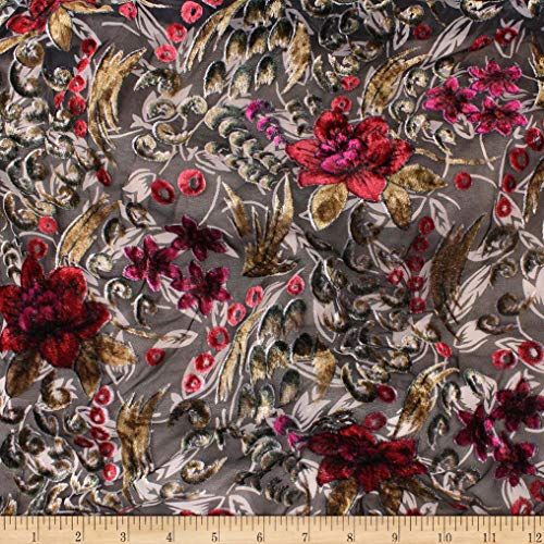 Telio Velvet Devoree Woven Burnout Floral Print Red/Fuchsia, Fabric by the Yard ()