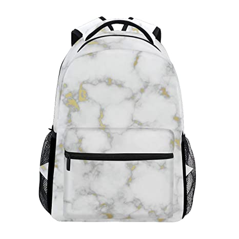 45367d84bd2d Amazon.com: AGONA Abstract Marble Gold White Stylish School Backpack ...