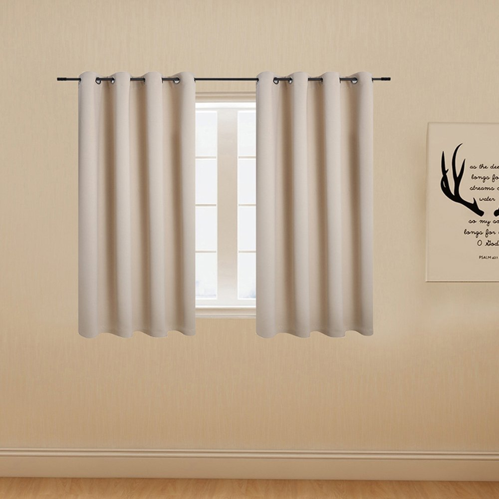 Anjee Beige Blackout Curtains Room Darkening Drapes - Grommet Top 2-Pack, 52 x 45 Inch Long, Thermal Insulated, Privacy Assured