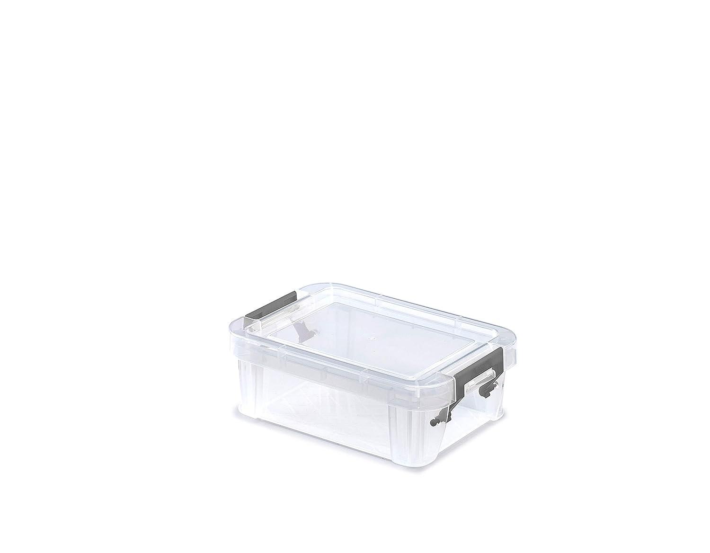Whitefurze Allstore contenedor con Plata Abrazadera de pl/ástico 0,1 litros Natural