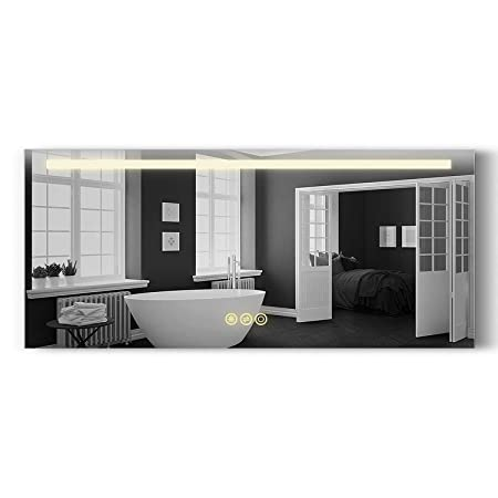 B C Danube Super Slim Bathroom Mirror 54 X24 Horizontal LED Backlit Polished Edge Frameless Defogger Dimmer Touch Switch Copper Free Silver Backed MD015424