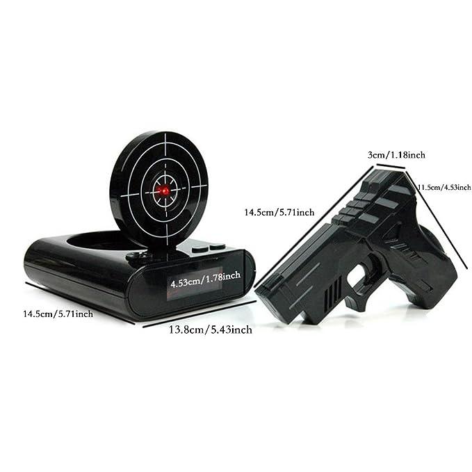 Amazon.com: Aolvo Novelty Gun Alarm Clock Creative Infrared Target Alarm Clock Gun Shooting Target Gaming Clock Funny Target Shooting Game Toys Gifts: Home ...